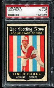 1959 Topps Baseball #136 JIM O'TOOLE Cincinnati Redlegs RC ROOKIE PSA 6 EX-MT