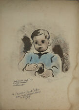 Madeleine LUKA- Lithographie originale signée-Jeune garçon au petit canard