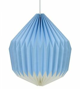 Paper Light Shade Lampshade by Wild Wood Modern Origami Design Cornflower Blue