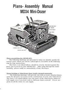 Struck MD-34 Mini Dozer Plans, Operator Instruction & Service Parts Manual