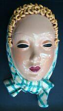 ART DECO LENCI Italian Lady Ceramic Mask Signed by PUCCI UMBERTIDE ROMETTI