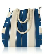 New! Lancome  Blue and White Striped Canvas Summer Tote Large Beach Bag