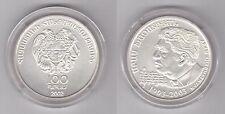ARMENIA  RARE SILVER UNC 100 DRAM COIN 2002 YEAR KM#98 100 ANNI ARAM KHACHATRYAN