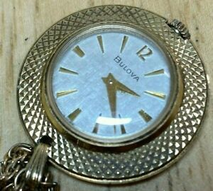 Vintage Bulova Swiss Lady Gold Textured Hand-Wind Necklace Pendant Watch Hours
