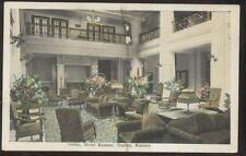 POSTCARD TOPEKA KS/KANSAS HOTEL KANSAN LOBBY FURNITURE VIEW 1910'S