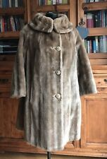 Vintage Faux Simulated Fur Coat / Jacket Ladies Woman's Long Light Brown