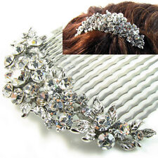 USA Hair Comb Crystal Handmade Bridal wedding prom vintage flower pin silver 01