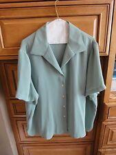 Rena Rowan 2 Pc Outfit Slacks Blouse Dusty Seafoam 20W Matching Jacket Avail
