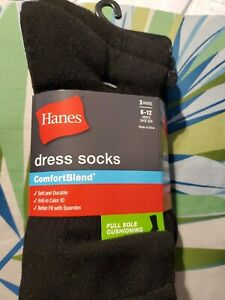 Hanes men's dress socks comfortable blend full sole cushioning 3 pairs 6 to 12