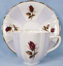 Crownford Cup & Saucer Red Sweetheart Rose Fine Bone China Vintage NICE