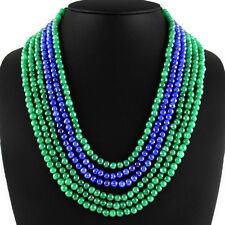 382.70 CTS EARTH MINED 6 LINE GREEN EMERALD & BLUE SAPPHIRE ROUND BEADS NECKLACE