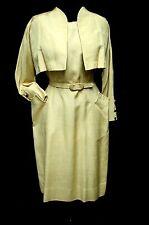 1950s 60s Vintage MAIZE COLOR SILK SHANTUNG CLASSY DRESS & CROP JACKET
