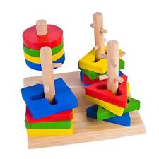 Montessori Educational Baby Kids Wooden Puzzle Toy Geometric Building Block Gift