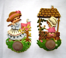 Vintage Plastic Wall Hooks Girl at Well and Girl Playing Flute Rare