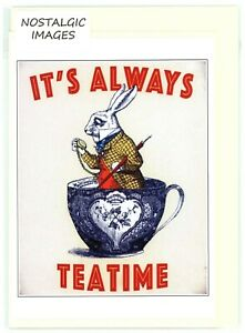 """Nostalgic & unique """"IT'S ALWAYS TEATIME'' hand made greeting card. blank inside."""