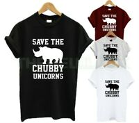 SAVE THE CHUBBY UNICORNS T SHIRT FUNNY RHINO ANIMAL LOVER EAT FRUIT NOT FRIENDS