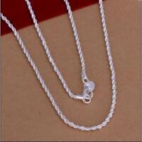 Damen Silberkette Gedreht Silber plt. 40-60cm Ø 2mm Kette Damen Schmuck NK1