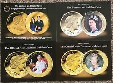 Lot of 4 Commemorative Coin Postcards William & Kate, Diamond Jubilee etc.