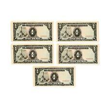 1 lot of 5 Japan invasion of Philippines paper money 1940's WW2 Au-Unc. 1 peso