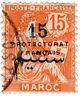 (I.B) French Morocco Postal : 15c on 15c Overprint