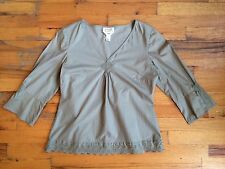 TALBOTS Stretch Cotton Taupe 3/4 Sleeve Lace Eyelet Trim Sz Sm P PERFECT!