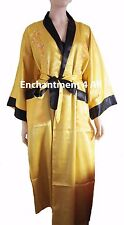 Reversible Embroidered Dragon Design Silk Kimono Robe Black/Golden