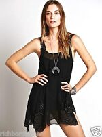 NEW Free People Dress Beaded black Sheer Chiffon Hi Lo Hem Mini Tunic S