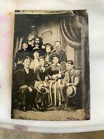 Very Rare Tintype Photo Of Theodore Roosevelt With Wife Edith Family Tennis Rack
