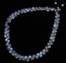 """Blue Fire Rainbow Moonstone 5mm Size Smooth Heart Shape Briolette Beads 10.5"""""""