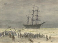 E. Venis, Fishermen Unloading Catch, St Leonards, Sussex – 1891 watercolour