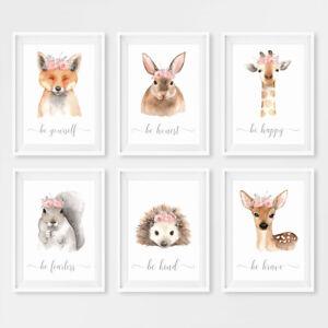 Pink Floral Animal Baby Girl Nursery Art Prints Childrens Bedroom Pictures Decor