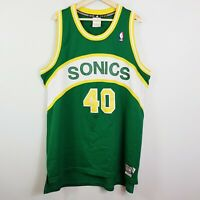 SEATTLE SUPERSONICS Adidas Mens Size XL NBA Hardwood Classics Jersey #40 Kemp