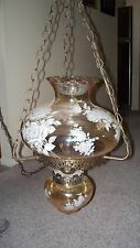 Vintage Hanging Swag Electric Hurricane Lamp Etched roses glass champagne color