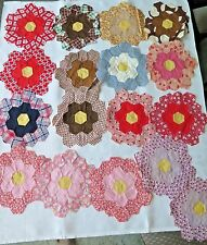 17 Vintage 1930s Colorful Grandmothers Flower Garden Feedsack Quilt Blocks  C
