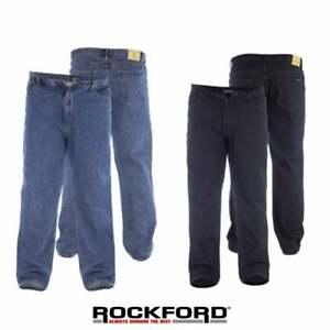 "Rockford Mens New Comfort Fit 38"" Leg Large Size Quality Jeans Black Blue BNWT"