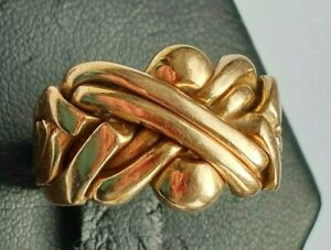14ct+ Pinky Gold Vintage Puzzle Ring UK Size R US 9 Rare Heavy 8.95g Cherished