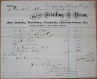 Salem, OH 1875 Letterhead: Dry Goods/Carpets/Queensware - Schilling & Brian-Ohio