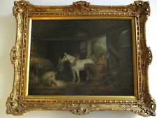 ANTIQUE CATTLEMAN PAINTING HORSE BARN INTERIOR 19TH CENTURY SIGNED MCWHIRTER