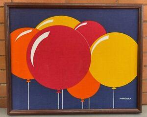 Vintage 70s Yellow Orange Red Balloons Textile Wall Hanging Modern Art Marüshka