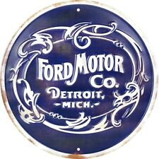 "Ford Motor Co Detroit Michigan 12"" Round Metal Sign Garage Embossed Wall Decor"