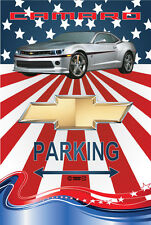Parking Sign - Chevy Silver Camaro RS 2015 American Flag Look