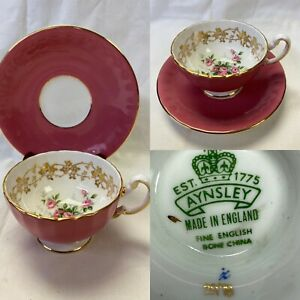 Vintage Aynsley England Beautiful Roses Tea Cup And Saucer ~Artist K2978 c.1960