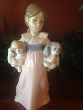 Lladro 6226 Arms Full of Love Girl with 2 Spaniel Puppies with Box