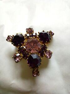 Vintage Gold Tone Pink Gemstone Brooch unusual shape