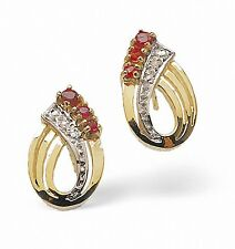Ruby and Diamond Earrings Yellow Gold Studs Appraisal Certificate