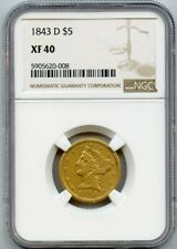 1843-D $5 Liberty Gold Coin NGC XF 40