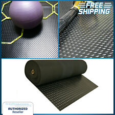 4ft x 8ft Rubber Floor Mat Cover Roll Exercise Home Textured Adhesive Wide Black