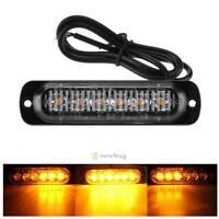 Amber 6 LED Car Truck Emergency Beacon Warning Hazard Flash Strobe Light Bar 18W