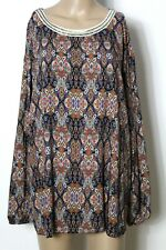 Bluse Gr. 48-50 bunt Langarm Paisley Ornament Muster Bluse/Tunika