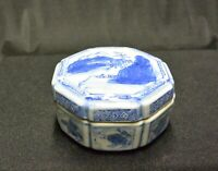Vintage Chinese Eight-Sided Blue and White Porcelain Ring Box, Trinket Box